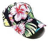 Crown Floral Print Sublimated Dad Hat (Black Hibiscus)
