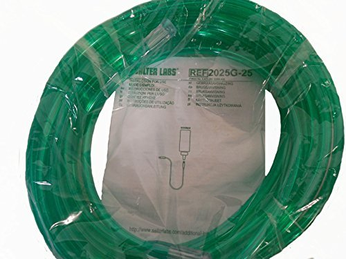 (25' Oxygen Tubing,Safety Channel, Green, (Pack of 5))