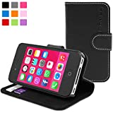 Snugg Leather Wallet Case for Apple iPhone 4 / 4s - Black