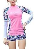 Womens Printing Split Long Sleeve Boy Shorts Sports Rush Guard 2PCS Swimsuits,XL(US8-10),Pink