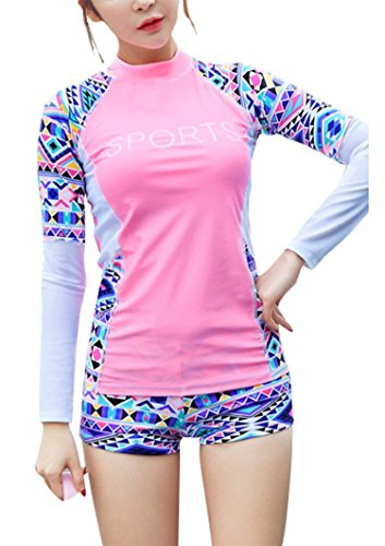 Womens Printing Split Long Sleeve Boy Shorts Sports Rush Guard 2PCS Swimsuits,XL(US8-10),Pink by shopping-more