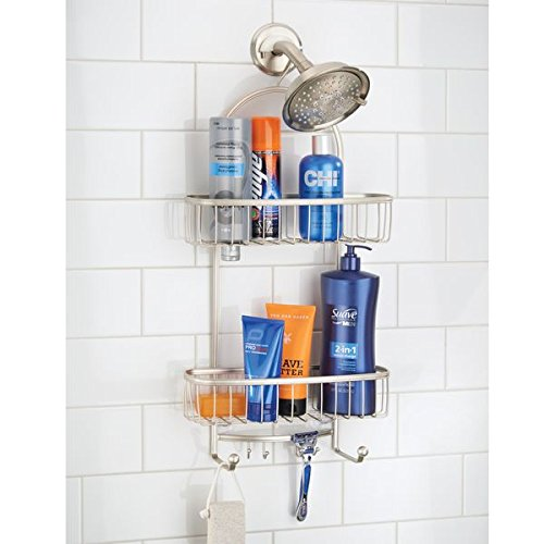 mDesign Bathroom Tub & Shower Caddy, Hanging Storage Organizer Center with 2 Built-In Hooks and Baskets for Bathroom Shower Stalls, Bathtubs - Rust Resistant Steel Wire, Satin