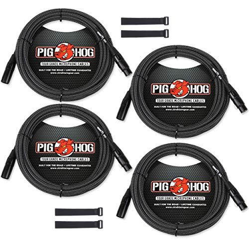- Pig Hog Black & White Woven Mic Cables 10ft XLR (4-Pack) with Cable Straps