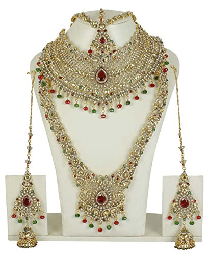 MUCHMORE Traditional Indian Style Golden Plated Polki Indian Necklace Earrings Bridal Set Jewelry by Muchmore