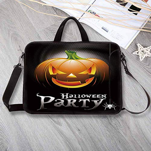 Halloween Large Capacity Neoprene Laptop Bag,Halloween Party Theme Scary Pumpkin on Abstract Modern Backdrop Spider Decorative Laptop Bag for 10 Inch to 17 Inch Laptop,15.4