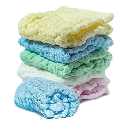 - Muslin Burp Cloths (6-Pack), Natural Washcloth Baby Wash Shower Towel, Multicolor Baby Bath Cloth Wipes, 12x12 in Soft Washcloths, Newborn Bath Baby Wipes for Sensitive Skin, Cotton Gauze Muslin Cloth