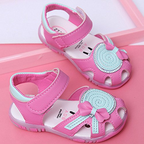 Zhhlaixing Baby Summer Anti-slip Toddler Cute First Walkers Shoes Lighted Soft-Soled Sandals Rose Red