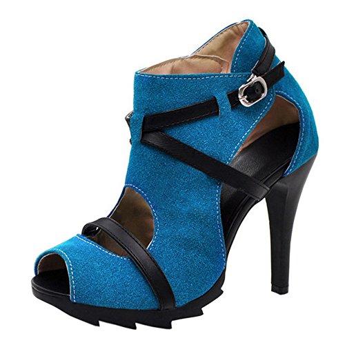 COOLCEPT Mujer Moda Ankle Wrap Sandalias Peep Toe Tacon de Aguja Zapatos Azul