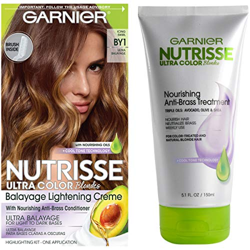 - Garnier Nutrisse Ultra Color Hair Color & Anti-Brass Treatment, Icing Swirl BY1, Balyage Kit, 2 count