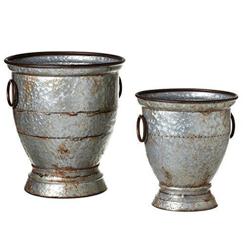 "Set of 2 Sliver Country Rustic Rusted Galvanized Urn Pot Planter 19.5"" by Diva At Home"