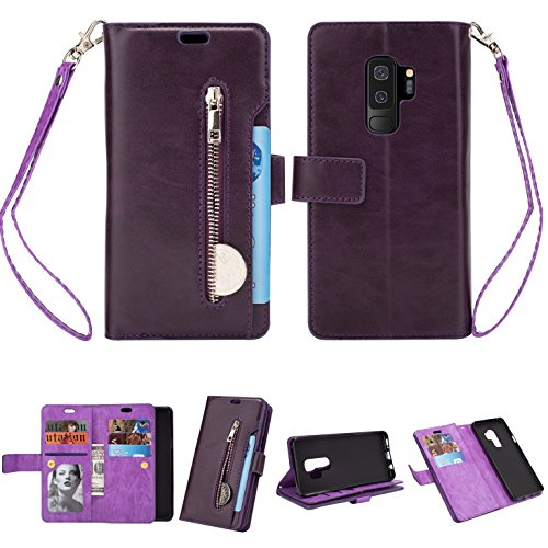 Samsung S9 Plus Case,Galaxy S9 Plus Wallet Case, FLYEE 10 Card Slots Premium Flip Wallet Leather Magnetic Case Purse with Zipper Coin Credit Card Holder Cover for Samsung Galaxy S9 Plus Purple