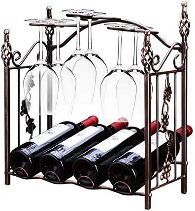 ワインラック ワインホルダー 4ボトルホルダー金属ワインキャビネットディスプレイ棚青銅脚付きグラスラックワインボトルホルダー