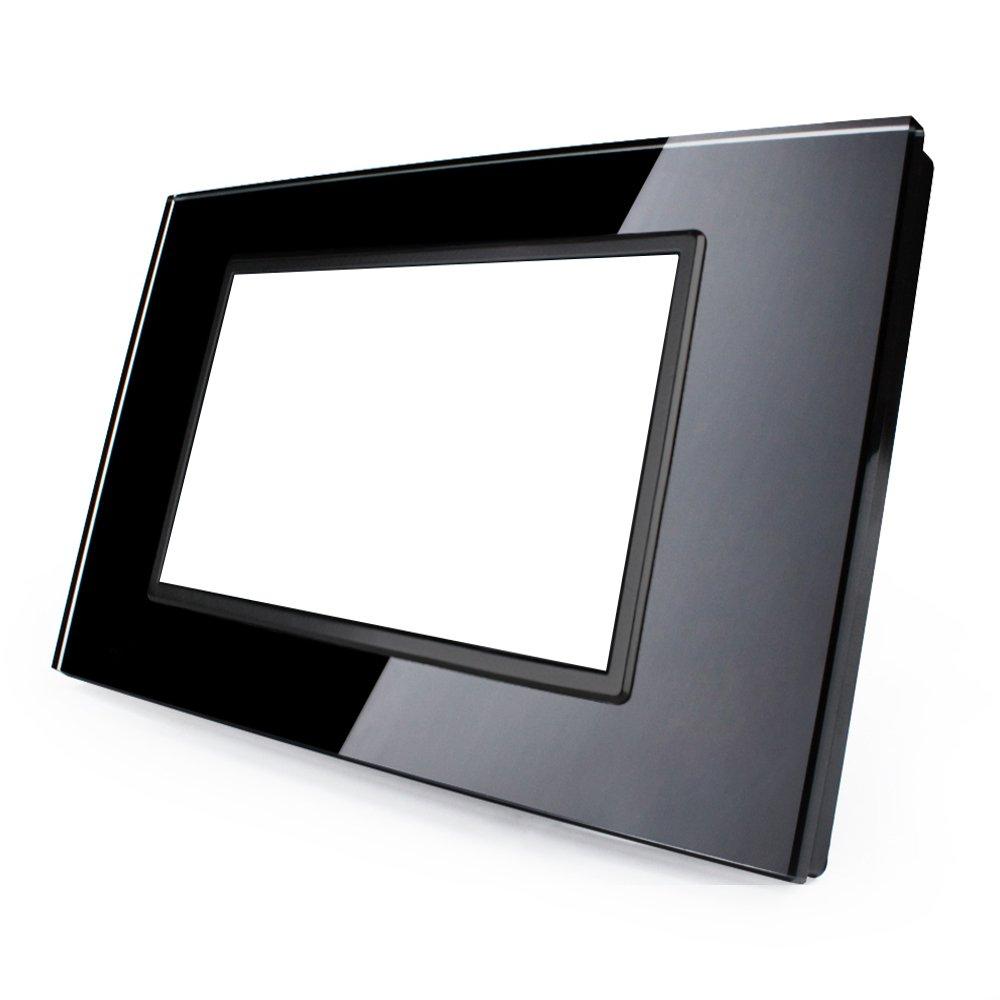nero Kit placca in vetro HiVE a 3 moduli compatibile con i moduli Vimar Ark/è