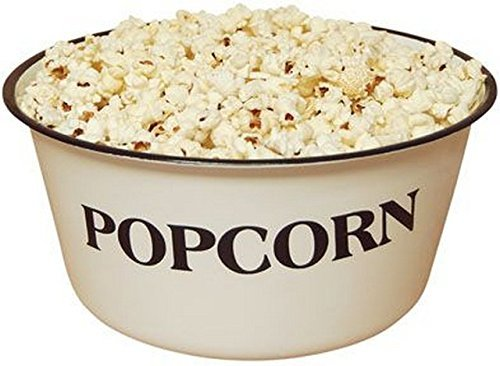 Ceramic Popcorn Bowl (Popcorn Bowl, GSL82, Vintage, White, Retro Styled REPRODUCTION of old-time bowl with old-time Blemishes and Distressed Touches)