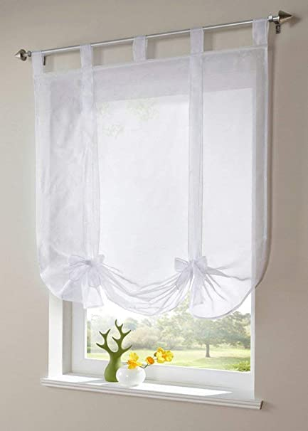 Uphome Sheer Tie Up Shade, Chic Bowknot White Balloon Window Shades - Tab  Top Kitchen Roman Curtain,39 x 55 Inch, Pack of 2