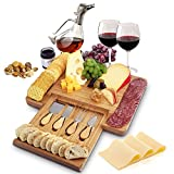100% Natural Bamboo Cheese Board and Cutlery Set with Slide-out Drawer. Serving Tray for Wine, Crackers, Charcuterie. Perfect for Christmas, Wedding & Housewarming Gifts.