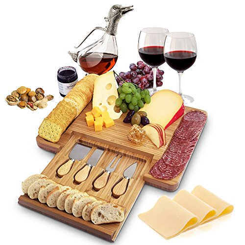 - 100% Natural Bamboo Cheese Board and Cutlery Set with Slide-out Drawer. Serving Tray for Wine, Crackers, Charcuterie. Perfect for Christmas, Wedding & Housewarming Gifts.