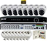CIB Security H80P16K2T03W-8KIT-W 16CH 1080P Video Security DVR, 2TB HDD & 8x2.1-MP 1920TVL Night Vision Camera, White