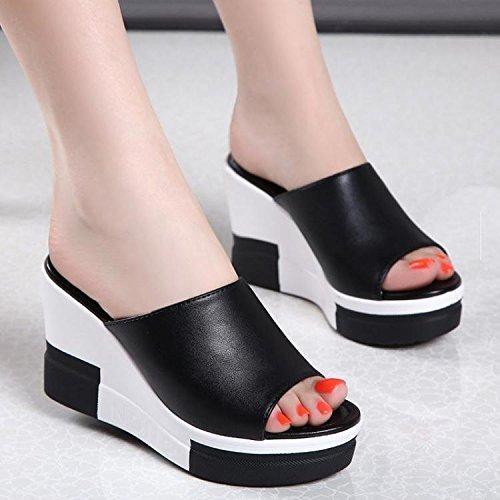 ZPPZZP Ms sandali pantofole estate trascinare a tacco alto aumentato di spessore con nero 37EU