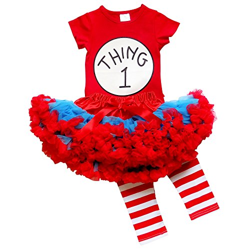 So Sydney Toddler Girl Thing 1, 2 Tutu 3 Pc Outfit Costume, Top Pants Tutu Skirt (L (5), Thing ONE) (Thing 1 Thing 2 Outfits)