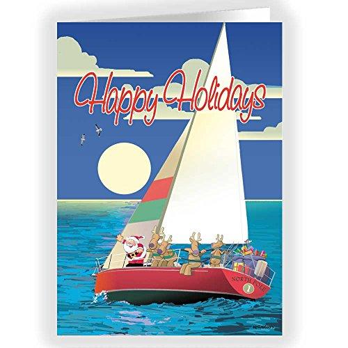 Sailboat Happy Holidays Christmas Card - 18 Cards & ()