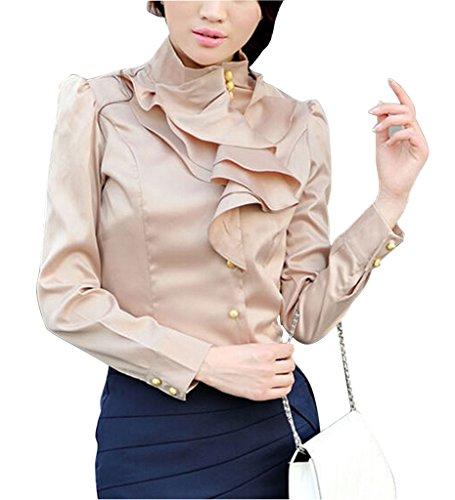 Shirt Collar Ruffle Stand (Double Plus Open DPO Women's Slim OL Ruffle Stand Collar Founcing Front Shirt Long Sleeve Blouse)