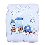 Spasilk Baby-Boys Newborn Extra Thick Plush Blanket with Satin Trim, Blue Train, 30 Inchx40 Inch