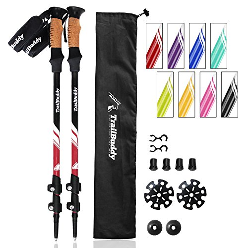 Trekking Lock Poles - TrailBuddy Walking Poles - 2-pc Pack Collapsible Trekking or Hiking Sticks - Strong, Lightweight Aluminum 7075 - Quick Adjust Flip-Lock - Cork Grip, Padded Strap - Free Bag, Accessories (Beetle Red)