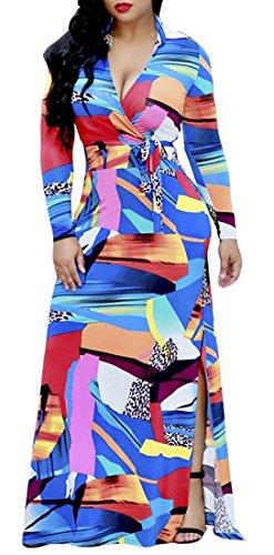 Womens Dress Sexy Long Cromoncent Print Long Blue Slit Bodycon Flower Sleeve STn7q6