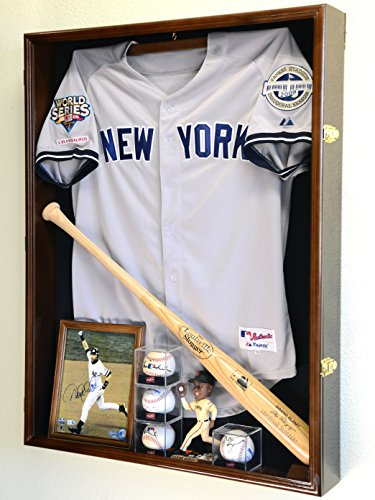 Extra Deep Jacket, Uniform, Jersey Shadow Box Display Case Cabinet w/ UV Protection, (Autographed Shadow Box)