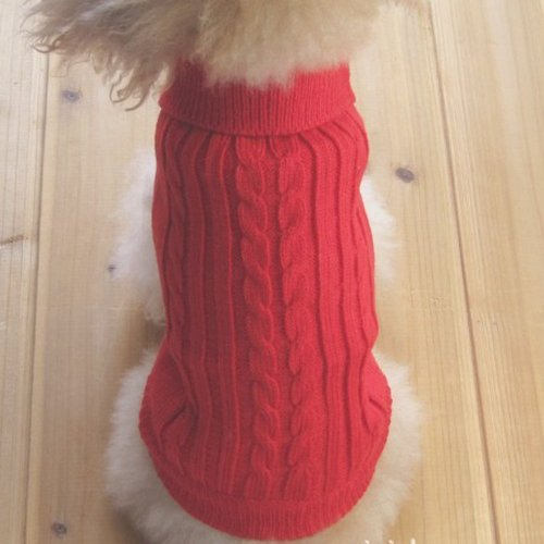 Tangpan Turtleneck Classic Straw-Rope Pet Dog Sweater Apparel (Red,L)