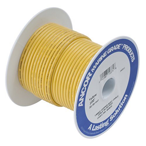 Ancor 107010 Marine Grade Electrical Primary Tinned Copper Boat Wiring (12-Gauge, Yellow, 100-Feet)