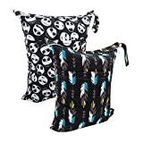 ALVABABY Cloth Diaper Wet/Dry Bags|Waterproof Reusable with Two Zippered Pockets|Travel,Beach,Pool,Daycare,Soiled Baby Items,Yoga,Gym Bag