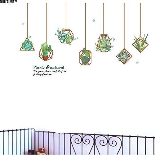BIBITIME Natural Plants Wall Decal Vinyl Hanging Succulent Plant Cactus Flower Peel and Stick Decor Stickers for Living Room Dining Room Office Nursery Bedroom Children Kids Room Art PVC Murals