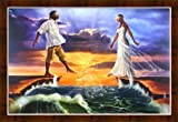 Stepping Out On Faith Love By WAK Kevin A. Williams 24x36 Black Art Print Poster African-American Bronze Framed Wood Composite MDF