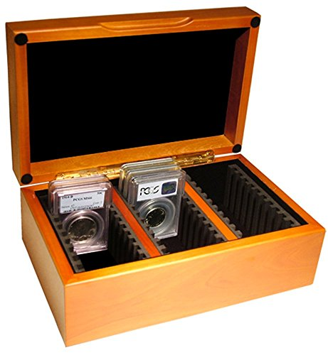 Vertical Row Wooden Coin Box for 30 Slab Holders by Guardhouse