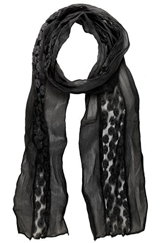 LL Scarfs for Women Black Lace Daisy Floral Embroidery Summer Light Weight ()
