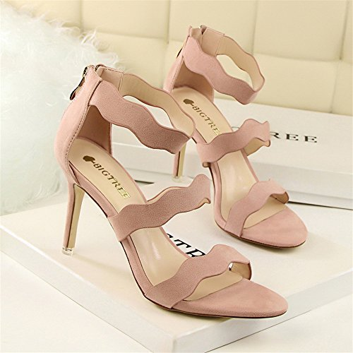 z&dw Moda dulce verano Slim señoras hueco zapatos con tacones altos terciopelo ondas de cara con una palabra con sandalias Rosa