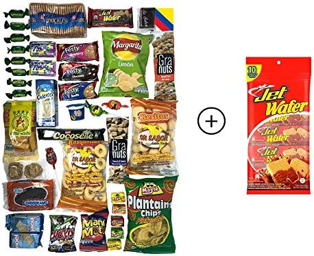 Colombian Snacks Sampler Variety Box - Cookies, Chips & Candies Assortment Pack - Delicious Gift Box - College Care Package (Mecato+JetWafer)