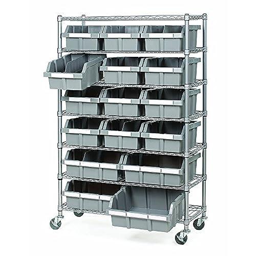 seville classics commercial 7 tier platinumgray nsf 16 bin rack storage system - Industrial Storage Bins