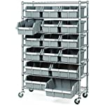 'Seville Classics Commercial 7-Tier Platinum/Gray NSF 16-Bin Rack Storage System' from the web at 'https://images-na.ssl-images-amazon.com/images/I/51ZlYM+N55L._AC_SR150,150_.jpg'