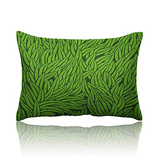 Anyangeight Green Mini Pillowcase Hand Drawn Style Grass Pattern Abstract Simplistic Environmental Growth Eco Fun Pillowcase 18