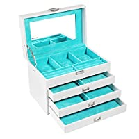 SONGMICS Jewelry Box Organizer Leather Jewelry Storage Case with Large Mirror and 3 Drawers White UJBC113