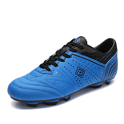 Dream Pairs 160859 Men's Sport Flexible Athletic Lace Up Light Weight Outdoor Cleats Football Soccer Shoes ROYAL BLACK SIZE 9.5