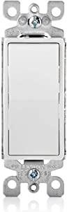 Leviton 5611-2WS 15A Decora Single Pole Illuminated Switch with Ground, White