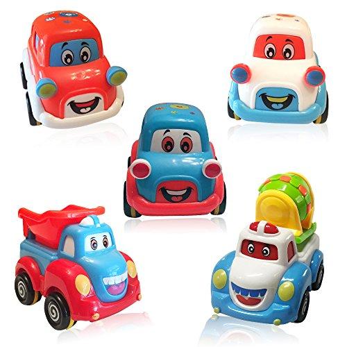 3 Bees & Me Car Toys and Trucks Play Set for Toddlers and Kids - 3 Pull Back Toy Cars and 2 Toy Trucks for Boys and Girls