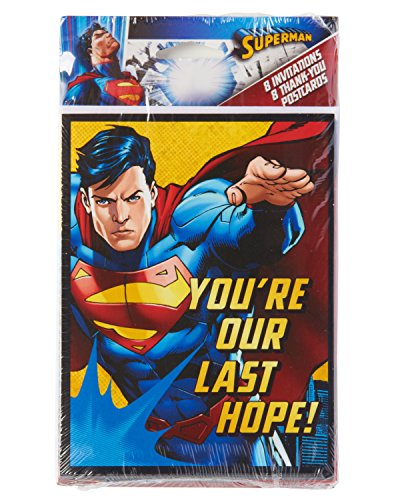 American Greetings Superman Invite & Thank-You Combo Pack (8 Count)
