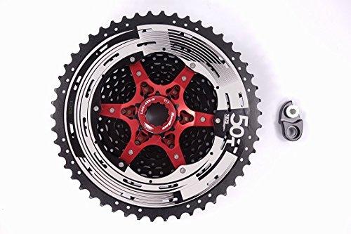 Sunrace 11-speed 11-50T CSMX80 wide ratio MTB Cassette freewheel with rear derailleur extender by JGbike (Black Chrome) by JGbike (Image #4)