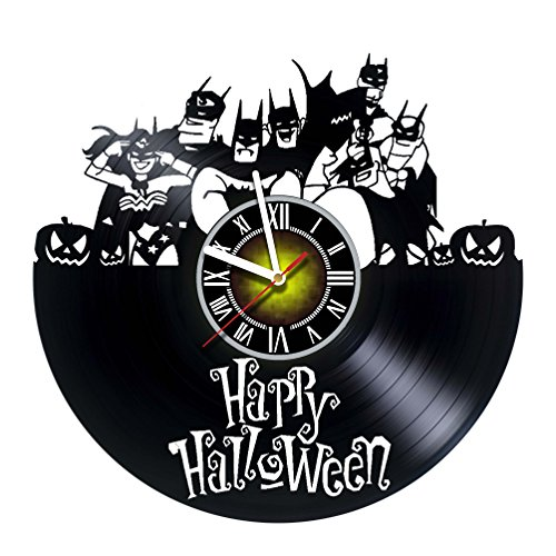 Happy Halloween Night - Justice League - DC Comics Movie Characters Vinyl Record Design Wall Clock - Decorate your home with Modern Famous Batman Dark Knight Story Art - Best gift for him or her