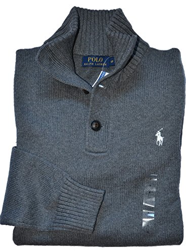 Polo Ralph Lauren Men's 3 Button Mock Neck Sweater (Mid Grey Heather, Large) (Ralph Lauren Men Clothing compare prices)
